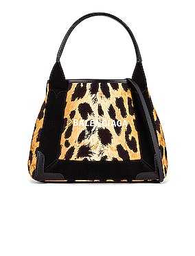 XS Leopard Navy Cabas Bag
