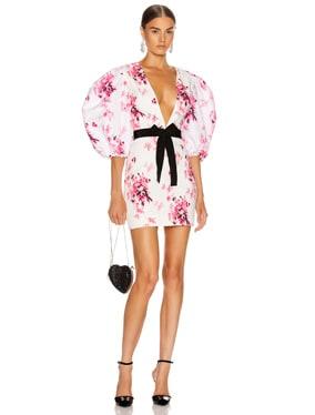 Crepe Floral Print Mini Dress