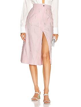 Crystal Embellished Midi Skirt