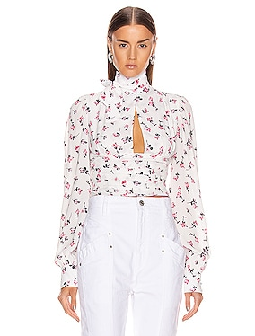 Floral Tie Neck Top