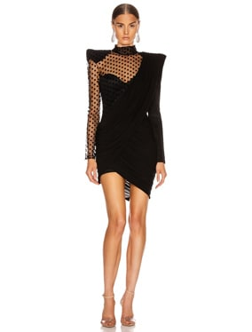 Asymmetric Draped Swiss Dot Mini Dress