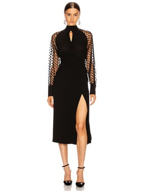 Long Sleeve Cutout Swiss Dot Midi Dress