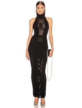 Halter Turtleneck Transparent Stripe Dress