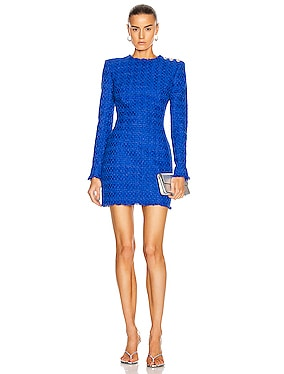 Long Sleeve Frayed Tweed Dress