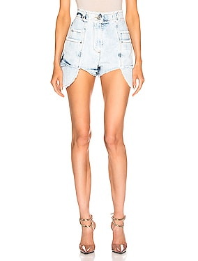 Frayed Bleached Denim Short
