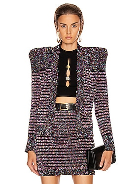 Collarless Glitter Stripe Jacket