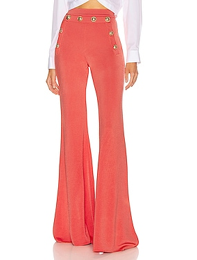Button Embellished Flare Pant