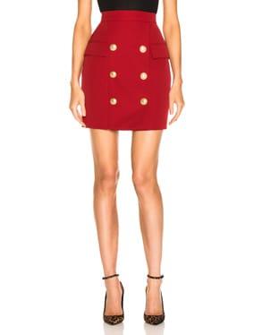Button Front Mini Skirt