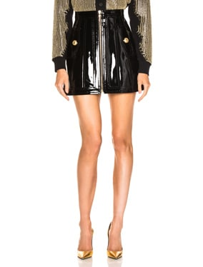 Zip Front Patent Leather Skirt