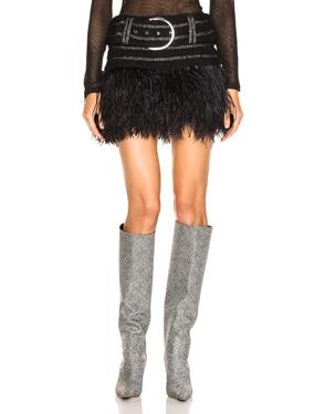 Belted Feather Hem Skirt