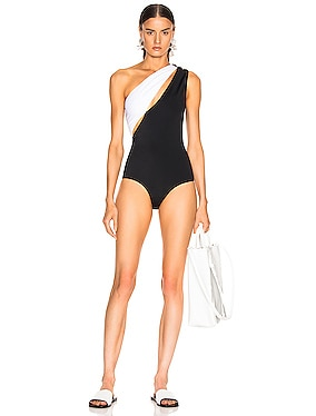 Asymmetric Shoulder Button Swimsuit