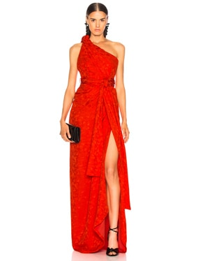 Satin Jacquard One Shoulder Twist Front Gown