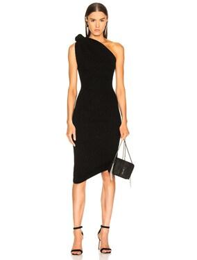 Rib Knit Knot Shoulder Mini Dress