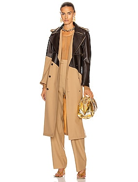 Colorblock Belted Trench Coat