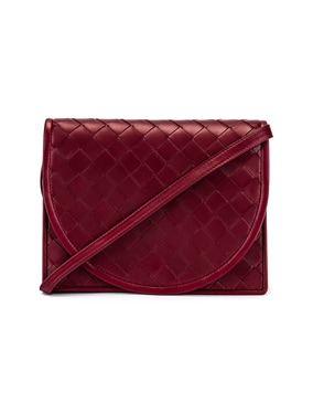 Woven Flap Leather Crossbody Bag