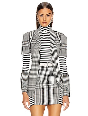 Gingham Check Tailored Jacket