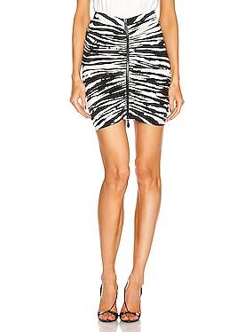 Print Mini Skirt With Zip And Ruching Detail
