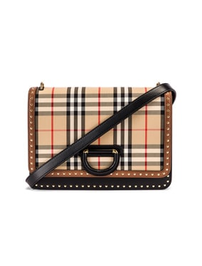 Medium D Ring Vintage Check Stud Crossbody Bag