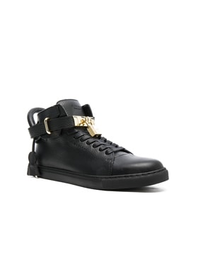 100MM High Top Pebbled Leather Sneakers