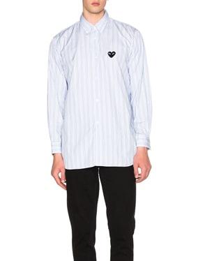 Broad Stripe Cotton Button Down