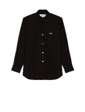 Black Emblem Cotton Button Down