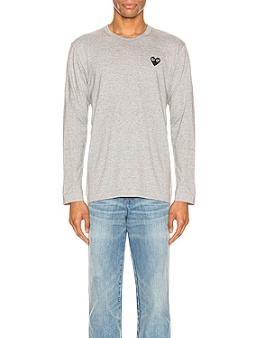 Black Emblem Cotton Long Sleeve Tee