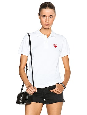 Cotton Polo with Red Emblem