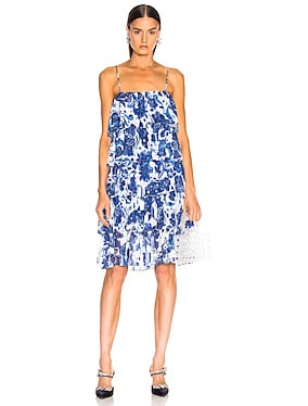 Ruffle Tea Length Dress