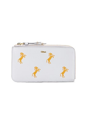 Signature Embroidered Horses Zip Card Case