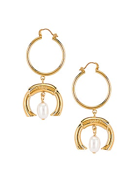 C Hoop Drop Earrings