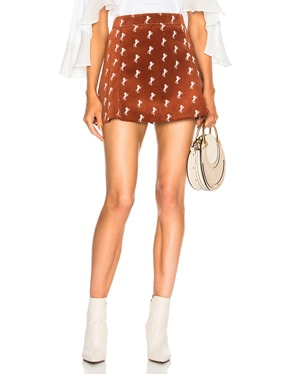 Horse Embroidered Mini Skirt