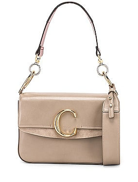 Chloe C Small Suede-Trimmed Leather Shoulder Bag
