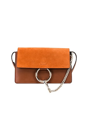 Small Faye Suede & Calfskin Shoulder Bag