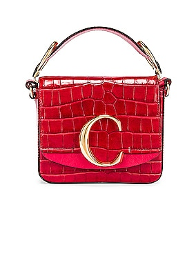 Mini C Embossed Croc Box Bag