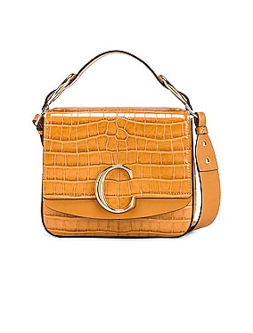 Small C Embossed Croc Box Bag