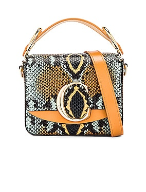 Mini C Embossed Python Box Bag