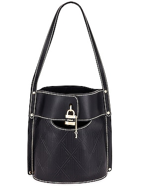 Aby Embossed Monogram Bucket Bag