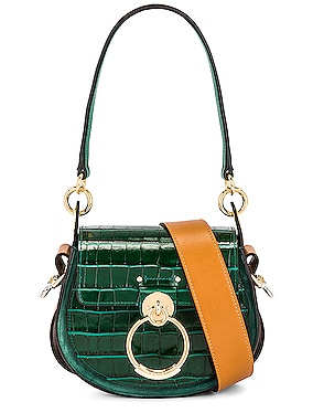 Small Tess Embossed Croc Shoulder Bag