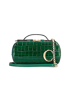 Mini C Embossed Croc Vanity Bag