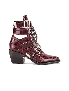 Rylee Croc Embossed Calfskin Lace Up Booties