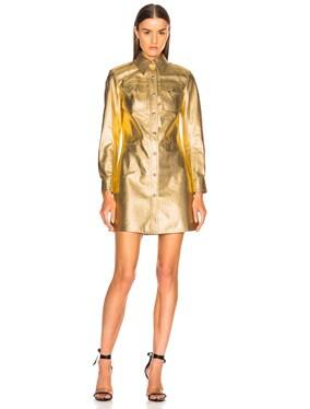 Metallic Leather Western Shirt Dress