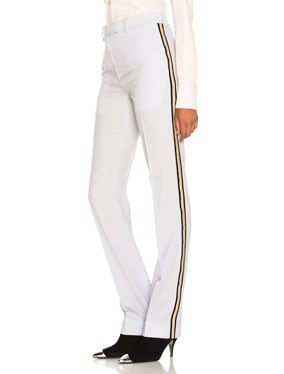 Wool Gabardine Side Stripe Trousers