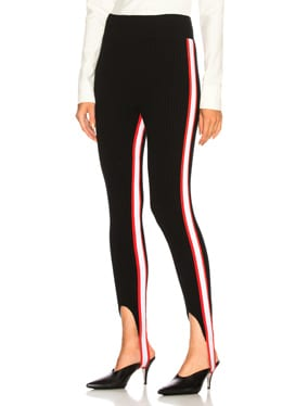 Side Stripe Ribbed Stirrup Leggings