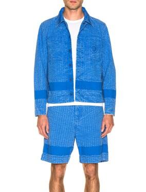 Acid Wash Line Stitch Worker Jacket