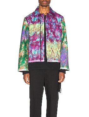 Vibrating Floral Line Stitch Worker Jacket