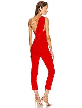 One Shoulder Fitted Cropped Jumpsuit