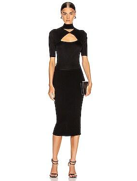 Short Sleeve Mock Neck Pencil Dress