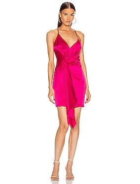 Sleeveless Halter Neck Plunging Mini Dress