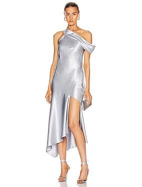Off the Shoulder Cascading Slip Dress