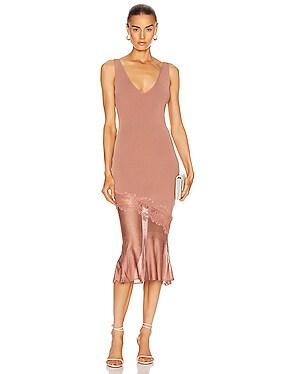 Sleeveless V Neck Knit Dress
